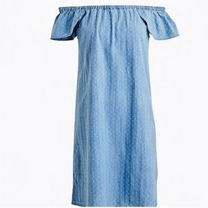 J.Crew Chambray Off Shoulder Dress